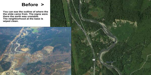 Before and after of the slide in Oso, Washington. 17 still missing, 4 dead. #landslide #OsoSlide http://t.co/CUyyWo7PIq