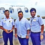 With our pilots Durga Rao gaaru & mr Anandh sir :) it was a great flight &  great hospitality #respect ⭐️