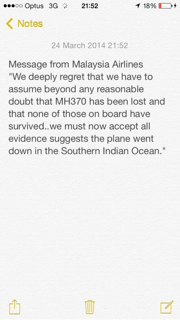 BREAKING: statement from #Malaysia Airlines on #MH370 @SkyNewsBreak http://t.co/OrfXmhbFqb