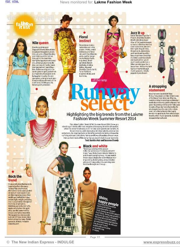 The Runway Edit by Indian Express!! Woohoo!! #trendsetters #fashion @LakmeFashionWk #grateful ❤️✨ http://t.co/avDkLHzdK3
