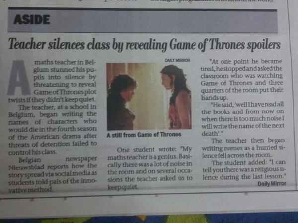"Smart/evil teacher. ""@King_Joffrey_: Great strategy. http://t.co/C4MfKm4thW"""