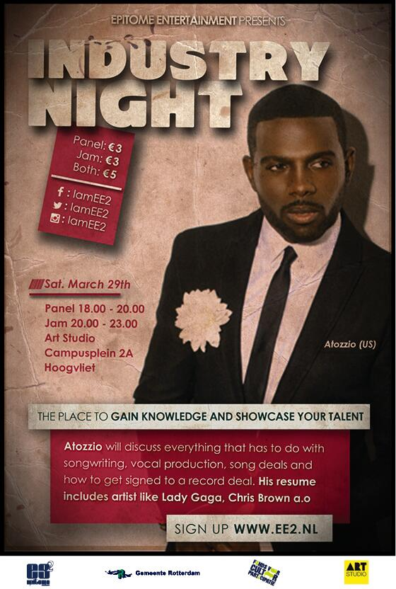 """@IamEE2: 29th of March @iamee2 present #Industrynight #Artstudio special guest @Atozzio #ee2 http://t.co/0iKUxmVzcP http://t.co/rIU8tGEEYy"""