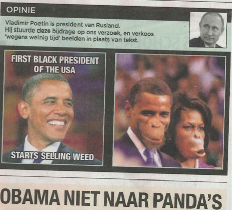 Newspaper under fire for picture of President Obama and First Lady as apes http://t.co/NxxMuxldAM (via @chikaunigwe) http://t.co/enu6YZHgGg