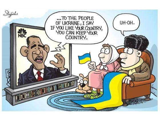 "Obama uh-oh: ""To the people of Ukraine, I say if you like your country you can keep your country"" #tcot http://t.co/NpgfTCqcxY"