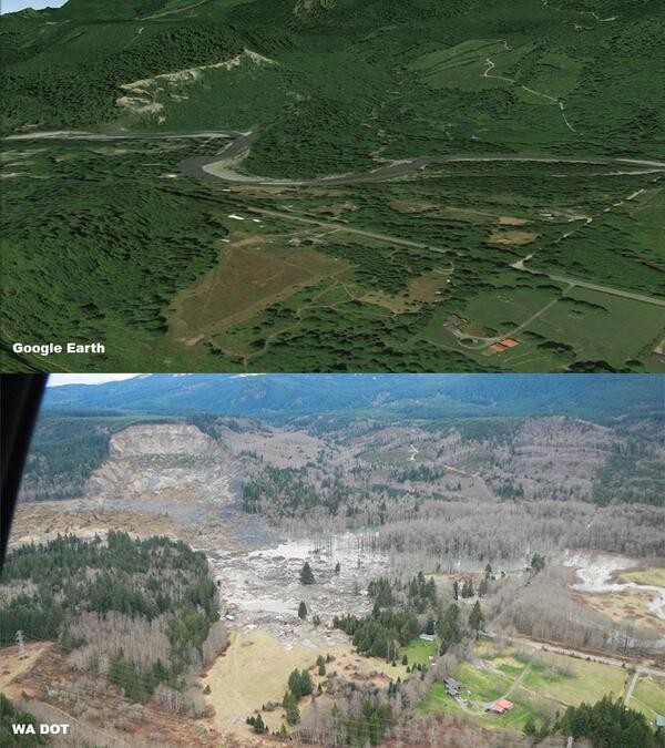 PIC: BEFORE & AFTER deadly, massive mudslide in Oso, WA. [via WA DOT/Google Earth & @chrisdolcewx] | #WAwx http://t.co/XCwNnGIV5X