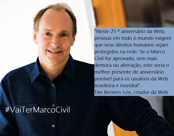 Recado de @timberners_lee em apoio ao #marcocivil do Brasil. Amanhã #VaiTerMarcoCivil #ArenaNetMundial http://t.co/ua0E9qyXQK