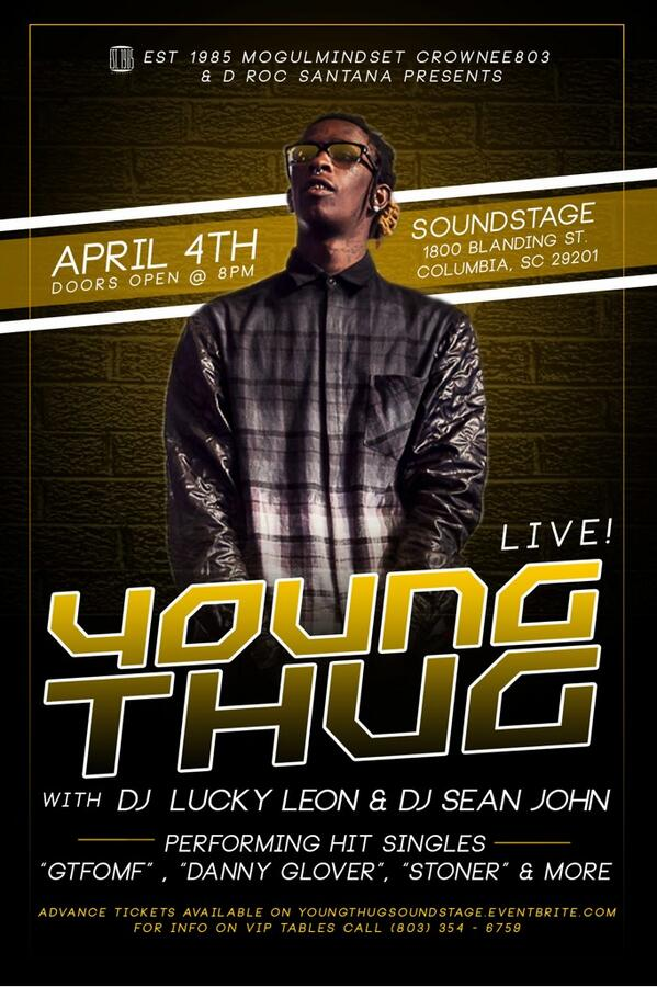 FRIDAY APRIL 4TH!! YOUNG THUG PERFORMING LIVE!!!!! HIT ME @CrownEE803 @drocsantana for tix!! http://t.co/YtSgPZvkof