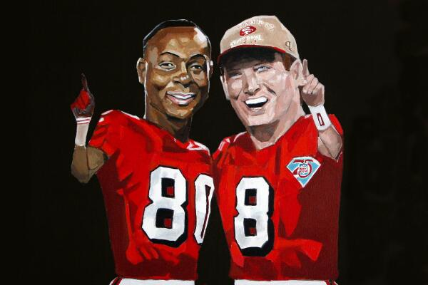 @49ers painting of @jerryrice and Steve Young. #xxix #49ers #jerryrice #steveyoung http://t.co/Ie65lXmouf