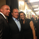 RT @SabotageMovie: Behind the scenes at @WWE #RAW: @TripleH, @Schwarzenegger, and @StephMcMahon. #SABOTAGEmovie