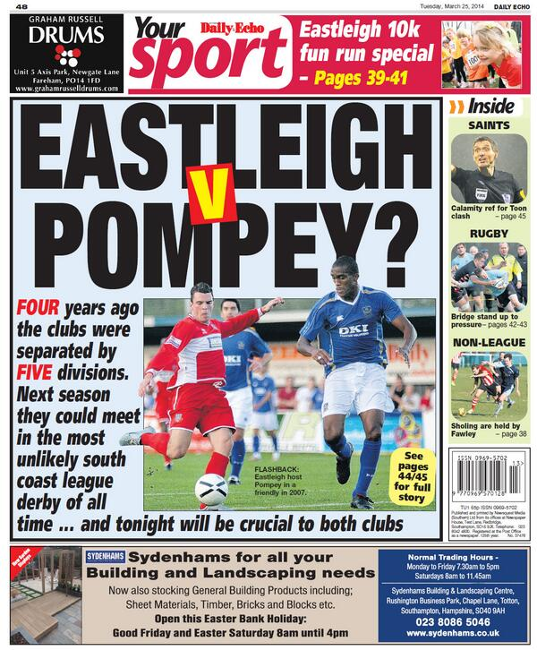 Today's back page featuring @eastleighfc and #pompey - full story: http://t.co/y8eXyUQEVh http://t.co/PpaCbHDN8P