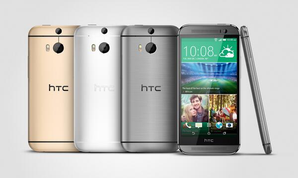 """Итак, мы рады представить вам новый HTC One (M8)!   M8 — это металлический корпус и 5"""" Full HD 1080p экран. http://t.co/BpSBgCeanc"""