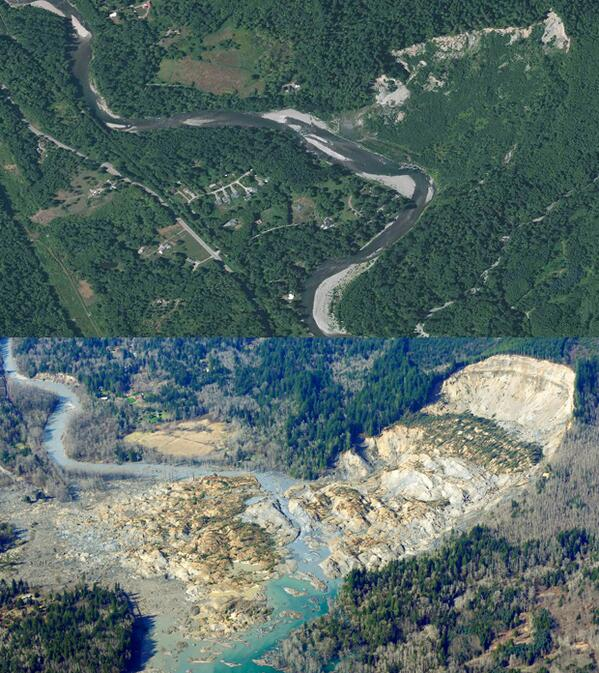 PHOTO: Before and after the deadly Washington mudslide