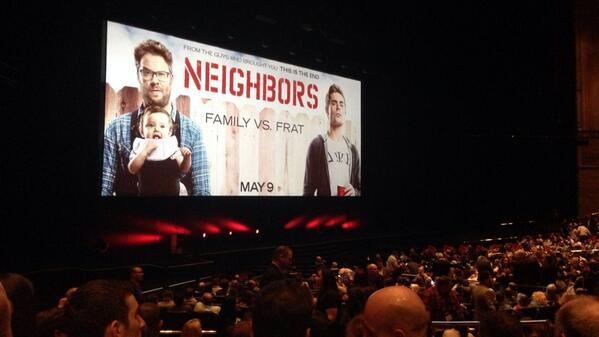 'Neighbors' is about to screen at #CinemaCon. Followed by a frat party. Crowd is pretty excited, obviously. http://t.co/4VMplfLszW