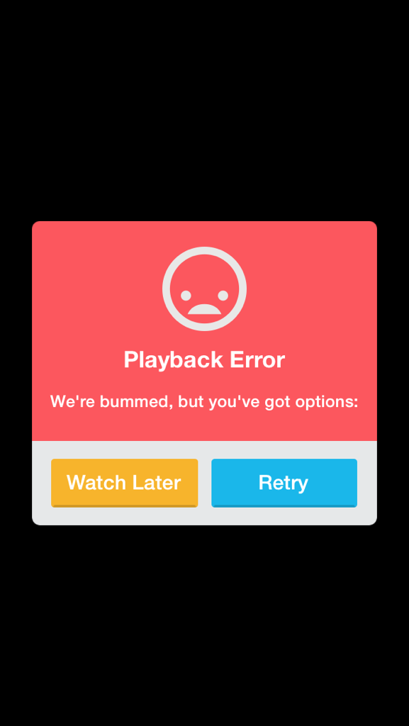 Jon Hicks (@Hicksdesign): Dear @vimeo, you might need to localize your error messages for the UK. How about just 'sorry' instead? http://t.co/D1TuGVtZmU