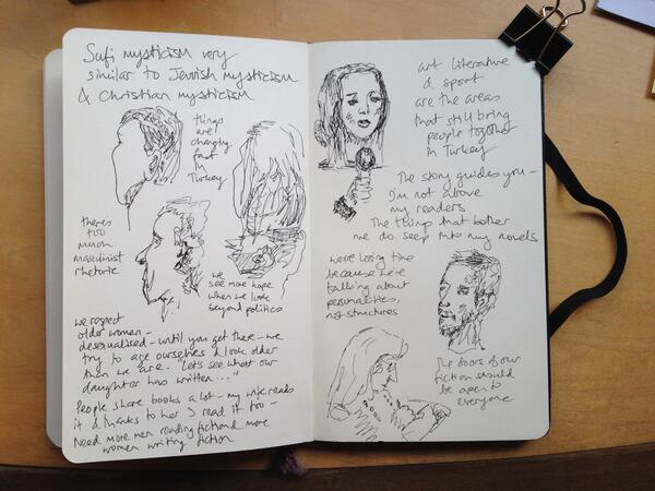 I sketched at @Lookingglassbks for @istanbulreview's @Elif_Safak reading. The clarity of mysticism in a muddy world. http://t.co/sLOv66lxGX