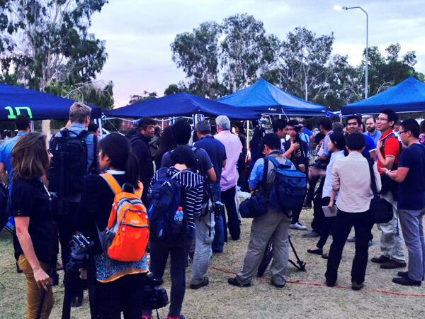International media gathering after latest #MH-370 developments. P3 Orion due to touch down at Pearce shortly. http://t.co/G0YswIhCcX
