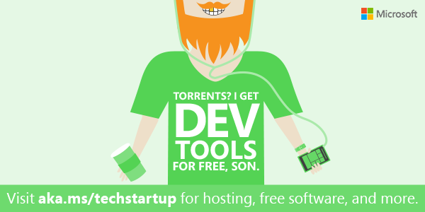 $13K in free software to build the next great app? Yes, please! Ignite yr startup! #BizSpark http://t.co/oCbwGLhqS7 http://t.co/TPzUIbjBdY
