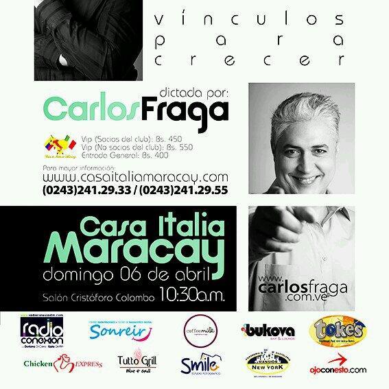 Conferencia @fragacarlos Entradas a la venta (asientos numerados) únicamente en @casaitaliamcy 550 VIP 400General http://t.co/3t51RdV9GH