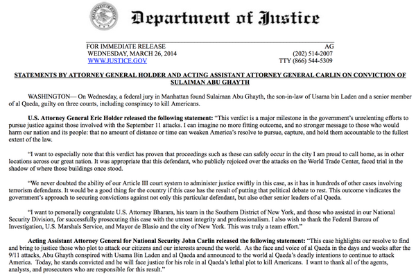 READ: Read: Statement from Attorney General Holder on conviction of Sulaiman Abu Ghaith http://t.co/FGoDSAQ6ps - @ajamlive