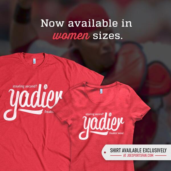 By popular demand, the #YadierMind shirt is now available in women's cut. http://t.co/1VhHxr6SOk http://t.co/e49uJcztSs