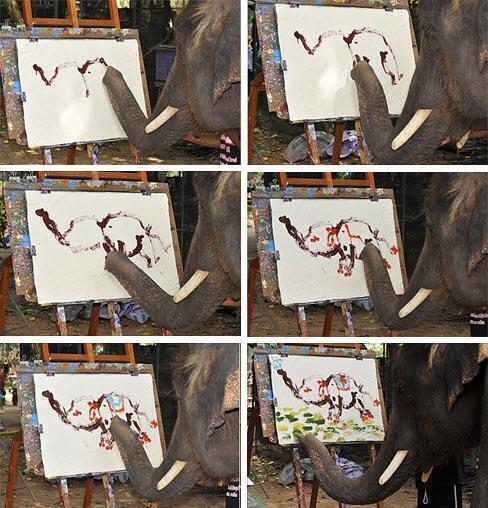 Elephant painting an elephant! http://t.co/BJqPisJtFe