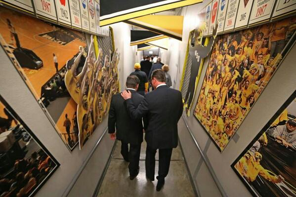 """Will miss walking out of the tunnel ready to """"Go 2 War""""  w Gregg Marshall.  He is the best!  #Salute #ShockerNation http://t.co/QQmT16mkSO"""