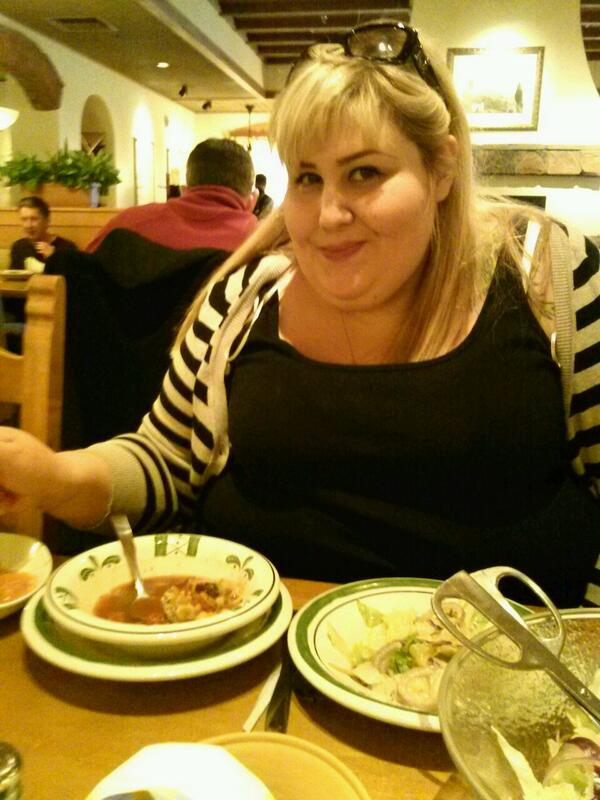 . and I having a huge lunch at Olive Garden. Courtesy of . Thank u love. Xoxo