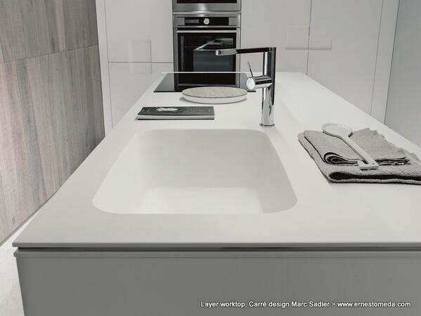 RT @ernestomeda: Layer worktop in Glacier white Corian® with steel central strip. Carré design Marc Sadler http://t.co/u9B9ms26wF