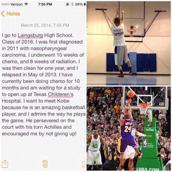 helping this boy to meet Kobe, please retweet!