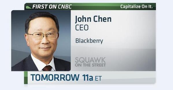 On tomorrow's show, we talk with @BlackBerry CEO John Chen. #FirstOnCNBC $BBRY http://t.co/QEB5gkZjLT