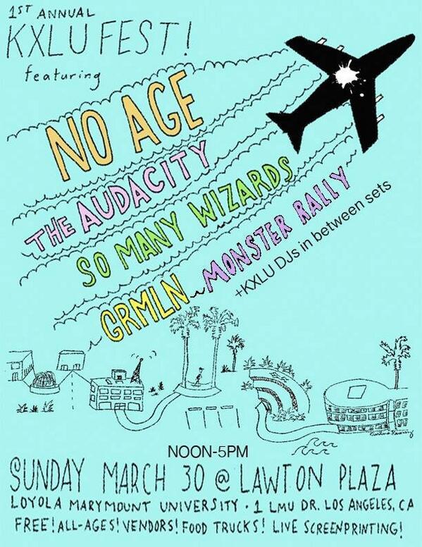 KXLU FEST is happening this Sunday 12-5 at LMU w/ @NoAgeLA, @Audacityca, @somanywizards, @GRMLNBAND & @MonsterRally http://t.co/u3fW6fh616