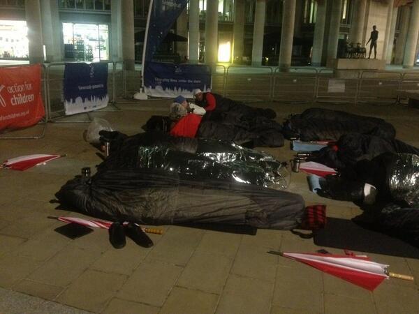Here are dozen or so CEOs sleeping outside st Paul's for action for children - 100k kids homeless in uk. http://t.co/RTkE1CEcX1