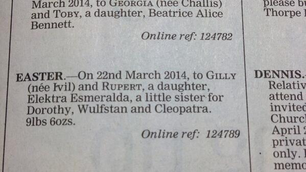 Telegraph births column this morning. Just wonderful http://t.co/cIWxBYFuXn