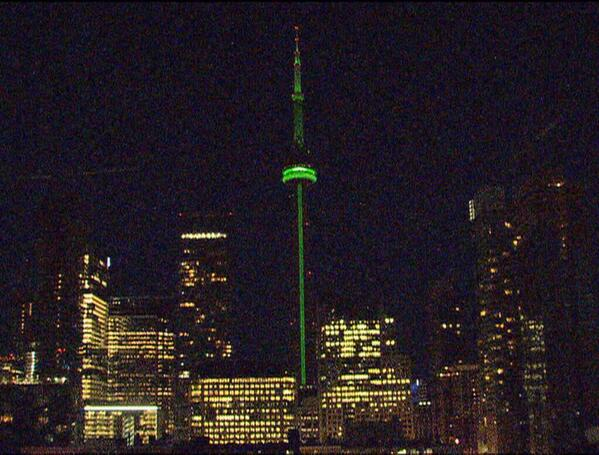 CN Tower is green tonight.  For Jim. http://t.co/6QvGIZiiRS