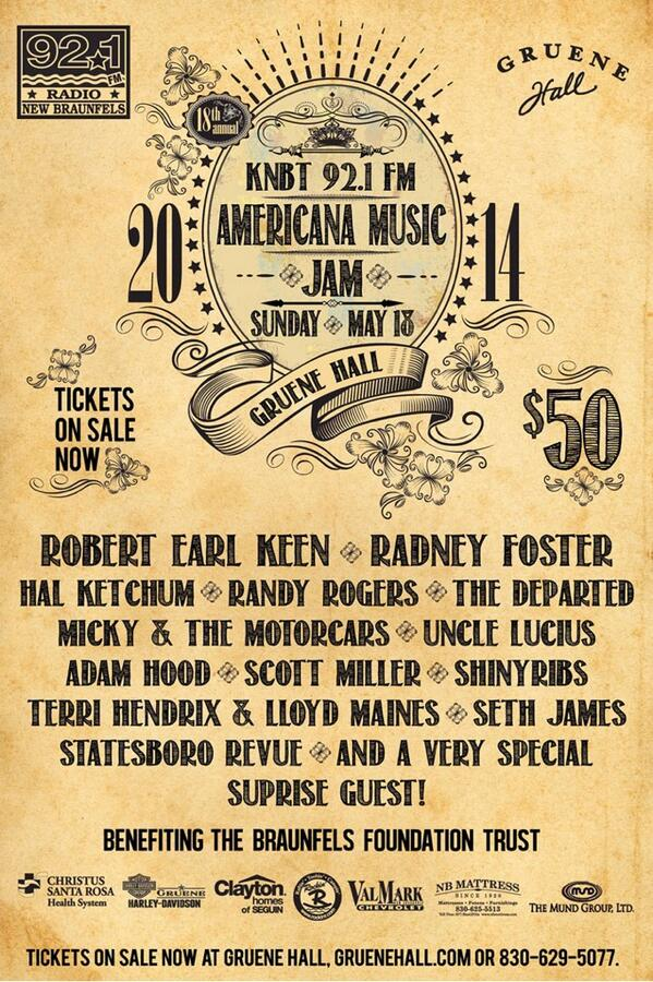 The 18th Americana Music Jam lineup: http://t.co/LtZnriwNMA