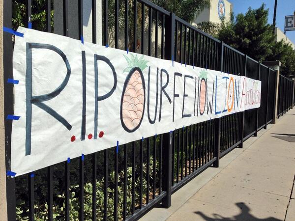 Sign outside El Monte  high school in memory of Adrian Castro #SchoolBusCrash victim @myfoxla http://t.co/M9A2vnwaiK