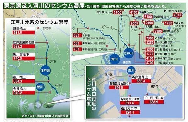 この東京湾と河川の汚染状況で、潮干狩りが満員御礼の状態でごった返しているとは、もはや想像を絶する。  http://t.co/uqhYb3XEg3