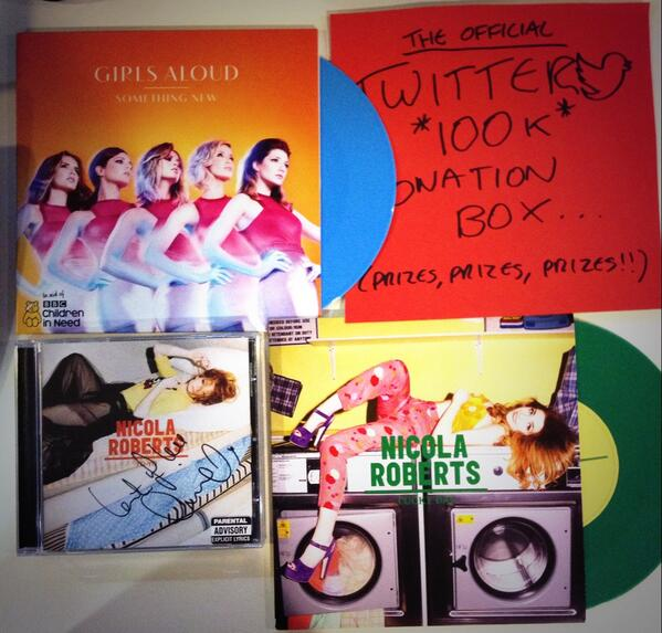 Some coloured Girls Aloud vinyl & signed @NicolaRoberts goodies going in the box! RT #Polydor100 http://t.co/F5sLL39iPq