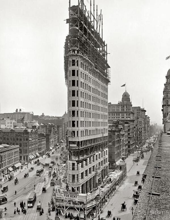 RT @HistoryInPics: Flatiron Building, New York. The Manhattan landmark under construction. 1902. http://t.co/V2KWXs8AIL