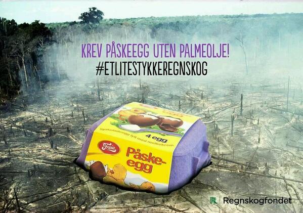 Hold deg for god til å fortære #etlitestykkeregnskog i påsken. Velg påskeegg uten #palmeolje @regnskogfondet http://t.co/g4A5jMGP84