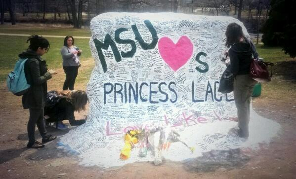 A dozen MSU students every minute are stopping by the rock and adding their message to @adorablelacey. #LoveLikeLacey http://t.co/dMdOyjjRn6