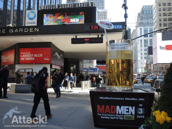 10ft Cocktail on Madison Square Garden in NY and Hollywood Blvd in LA for the #MadMenCountDown! http://t.co/7XhmkkEoGj