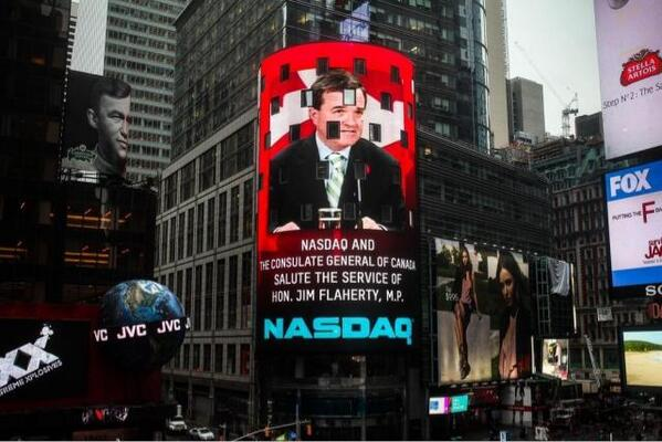 Nasdaq commemorates Jim Flaherty at Times Square today  because of his contribution to global economy. http://t.co/7SHKtPvxnJ