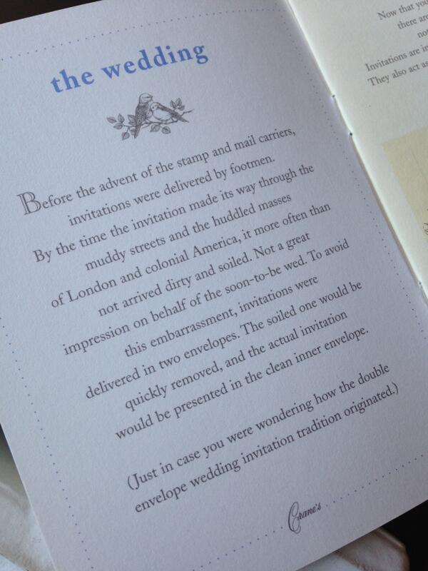 From the archives: A booklet on wedding stationery for brides-to-be that opened with this tidbit... http://t.co/yPN6ybLmCs