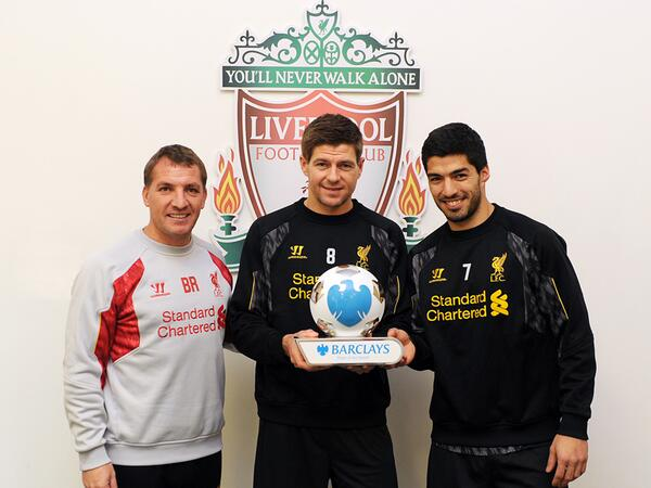 Bk7enssCUAAC7IT Liverpools Brendan Rodgers wins Manager award with Luis Suarez & Steven Gerrard sharing Player of the Month