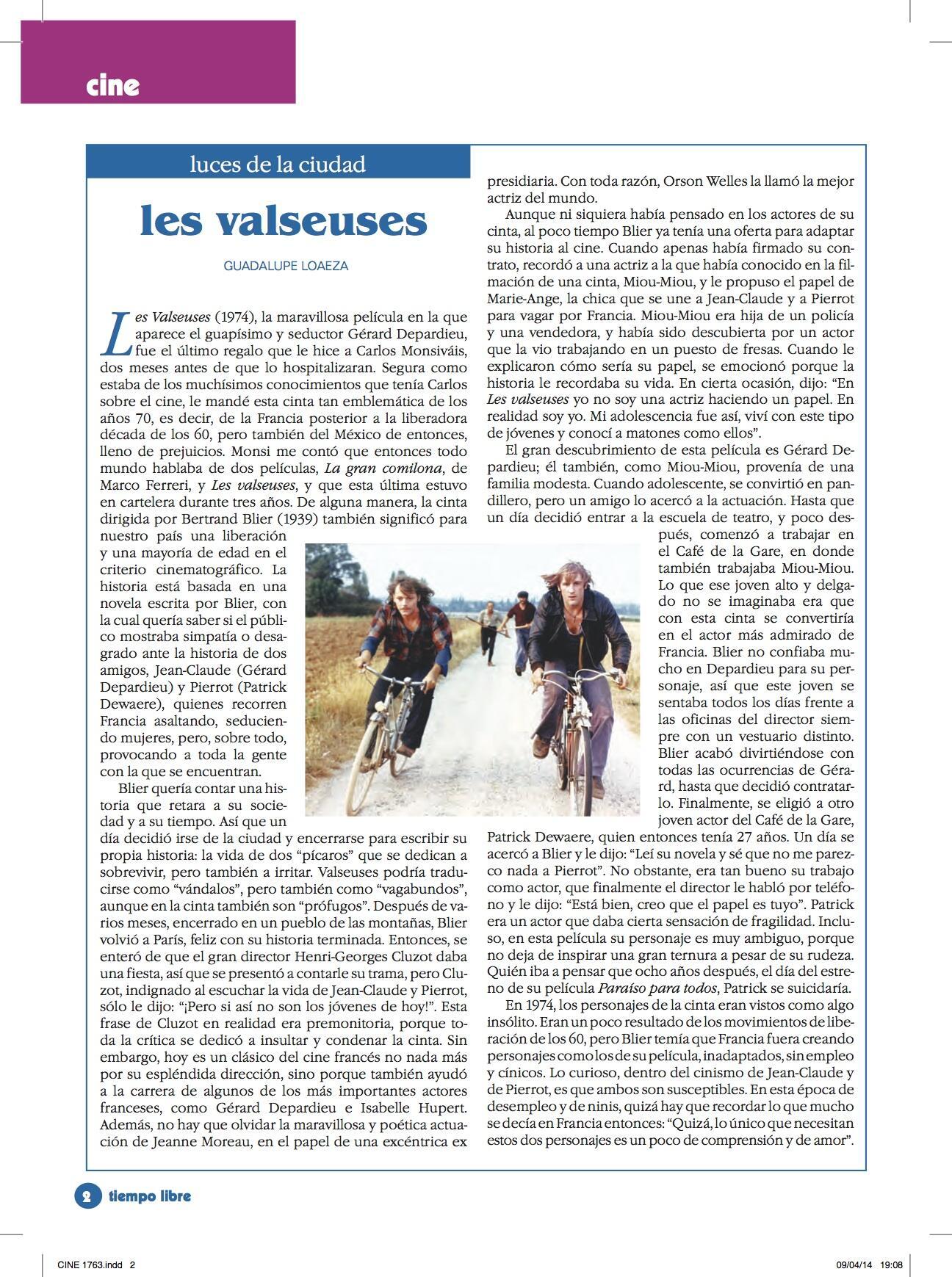 """Aquí la colaboración semanal de Guadalupe Loaeza, en esta ocasión sobre """"Les Valseuses"""" con un Depardieu joven http://t.co/045XC8y2QL"""