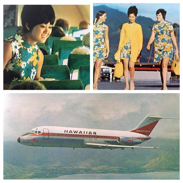 하와이안항공 60년대말 캐빈승무원의 유니폼 http://t.co/FdlMThcVOa