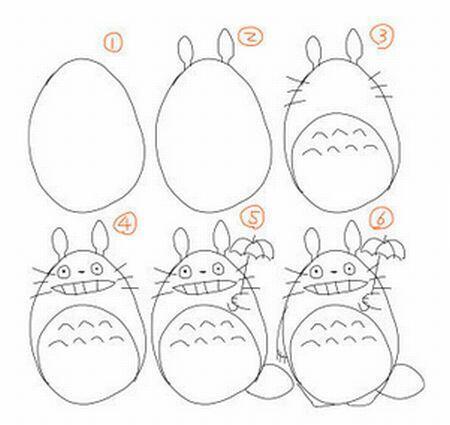 【トトロ 絵描き歌】 ①大きな卵を描きましょう②頭にキノコが2本生え③おなかを丸く囲ったら、ヒゲ6本・『へ』 が7つ④小