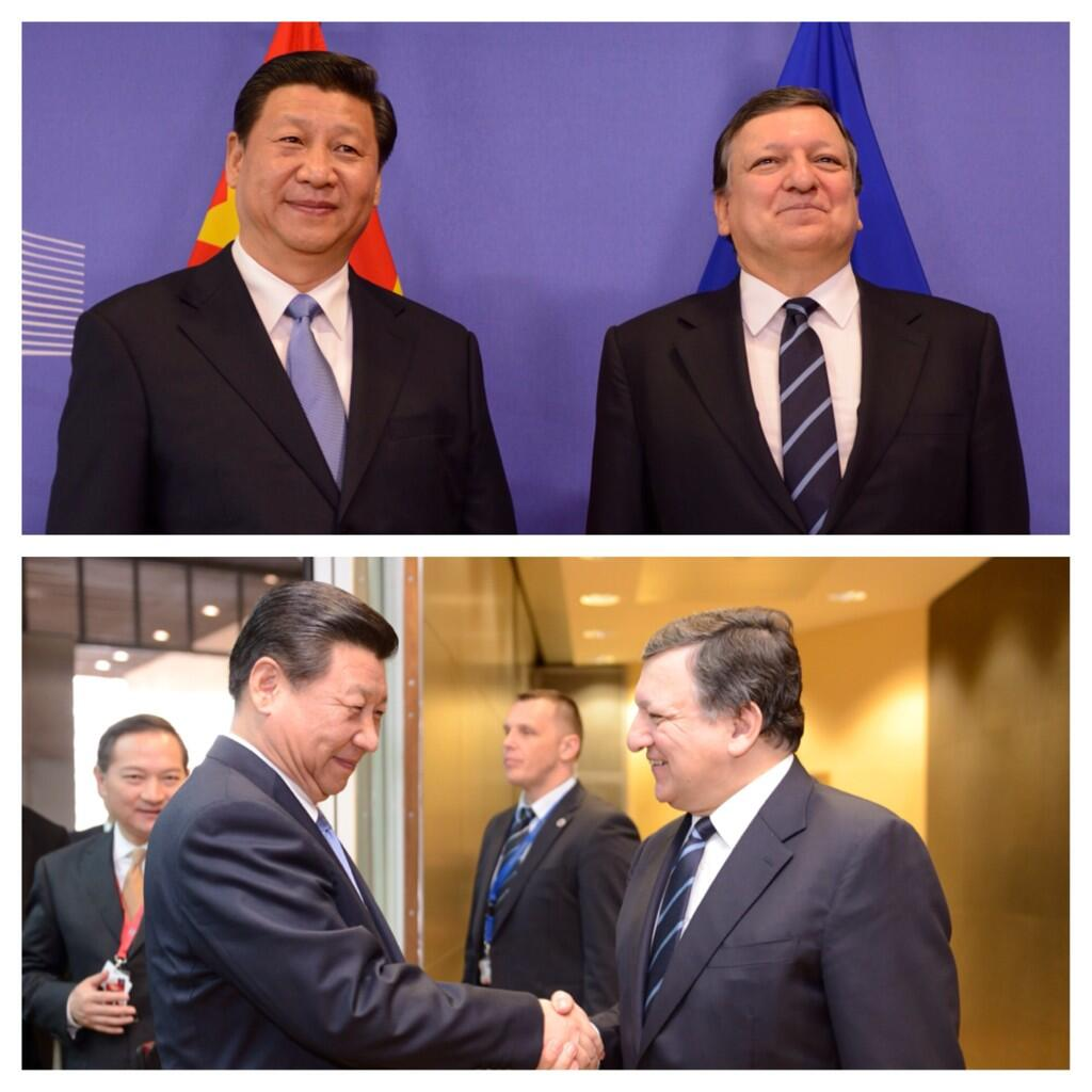 Very happy to welcome Pdt #XiJinping to the @EU_Commission today - a 1st in the history of our bilateral relations http://t.co/E1KhXjzljr