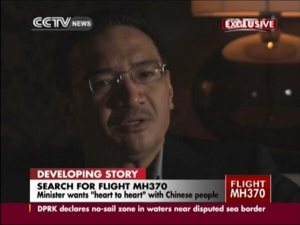 "Exclusive w/ @HishammuddinH2O reaches out ""heart2heart"" w/ #MH370 #Chinese #families @cctvnews http://t.co/SiONL2KjlF http://t.co/ZjC7I64xQd"